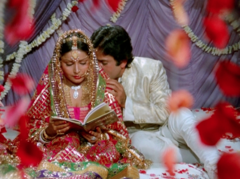 "The famous ""Suhaag Raat"" scene from Kabhie Kabhie. Wonder if this is how a ""wedding night"" really is."