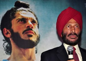 Farhan Akhtar and the source of the movie's inspiration, Milkha Singh himself